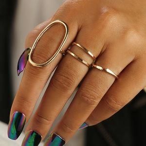 Jewelry - Geometric Gold Oval Statement Knuckle Midi Rings